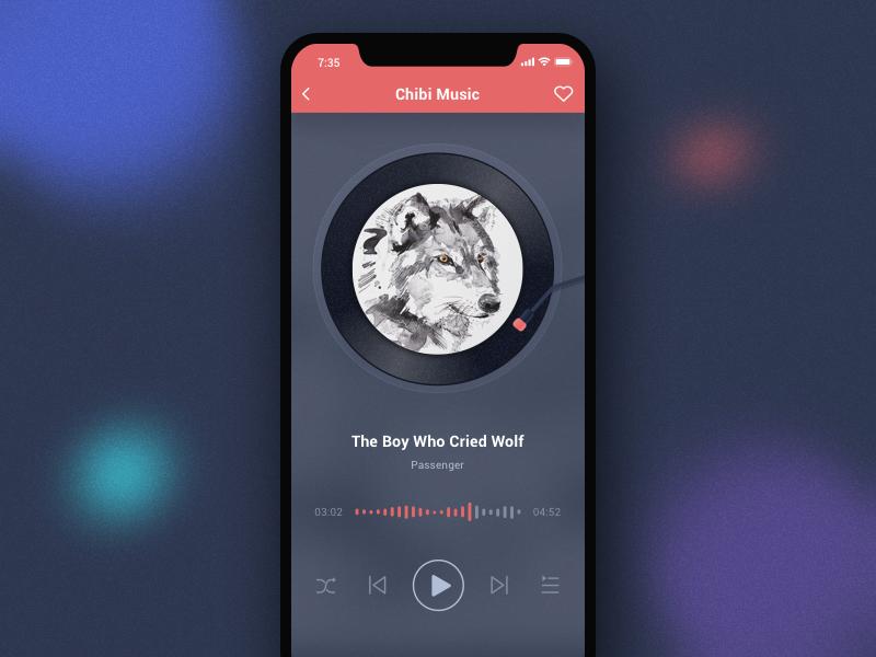 09 Music Player iphone ui dark pink player music