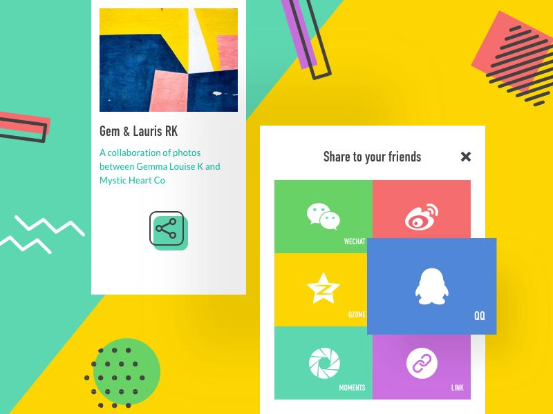 10 Social Share memphis abstract tiles media colorful share social