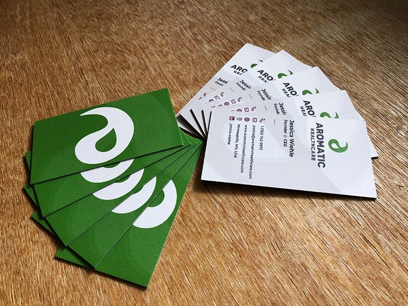 Aromatic healthcare business cards by selvin ortiz dribbble i always enjoy opening a package of freshly printed business cards from moo my client loved them too colourmoves