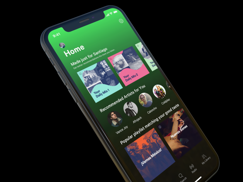 Spotify Home Screen UI Concept user interface mock up interaction album art music app ux ui spotify