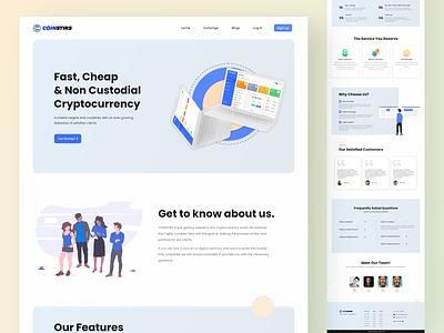 Coinstirs Cryptocurrency Exchange Website bitcoin cryptocurrency graphicdesign website landingpage uiux webdesign design ux vector graphic design ui