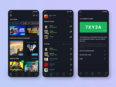 Steam App Redesign mobileui app redesign csgp dota steam ux uiux graphic design ui