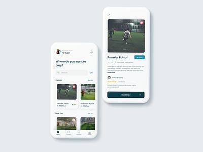 Futsal Booking App travel app order graphic design sports app futsal football sports ui design app design mobile design minimalistic design mobile app booking app uiux ux ui