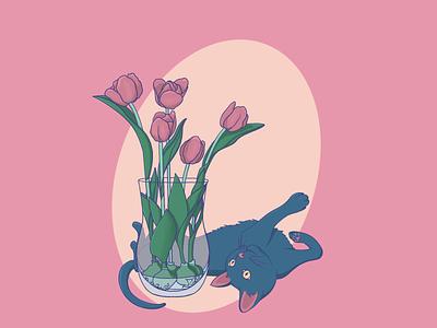 Playful cat merch art digital drawing illustration design vase pink spring flowers tulips cat