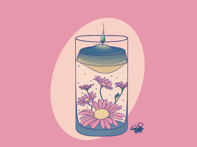 Candle & bug digital art merch art illustration spring fire chamomile ladybug bug candle