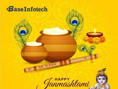 Happy Krishna Janmashtami websitedevelopment logodesign socialmediamarketing digitalmarketing softwaredevelopment appdevelopment mobileappdevelopment webdesign websitedesign baseinfotech harekrishna celebration lordkrishna janmashtami2021 janmashtami krishnajanmashtami happyjanmashtami