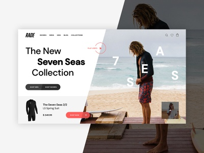 Hero Landing fresh modern wetsuit ecommerce shop landing hero surf design clean web