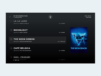 Personal Movie Project - Full List View app fullscreen project web belgica cafe demon neon moonlight la la land movie film