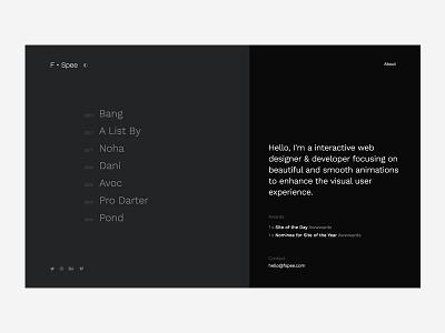Personal Portfolio - About Page animation smooth modern minimal clean black dark portfolio