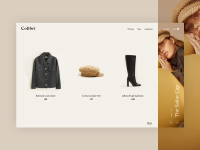 Colibri Lookbook Concept web shop modern minimal lookbook light fashion ecommerce design clean