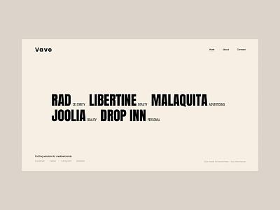 Vavo - Interactive Portfolio bold font photograhy design clean portfolio typogaphy sleak minimal