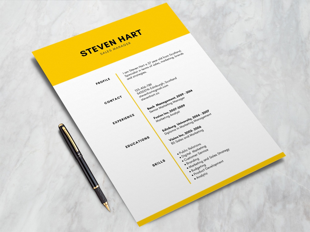 Yellow Elegant Resume Design By Andy Williams Dribbble