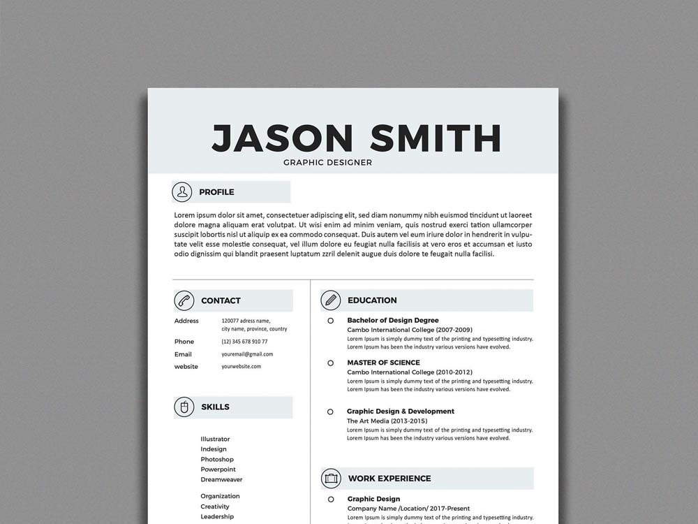Free Simple Resume Template By Andy Williams On Dribbble