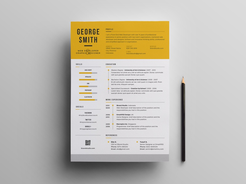 Free Cool PSD Resume Template by Andy Williams on Dribbble