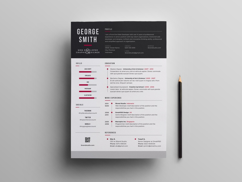 Free PSD Resume Template Psd Builder Design