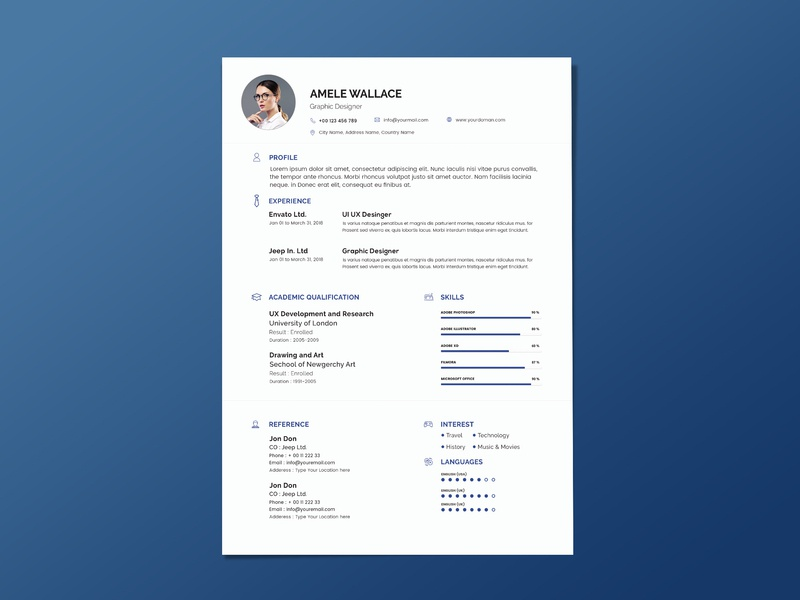 Free Blur Resume Template Cover Letter By Andy Williams Dribbble