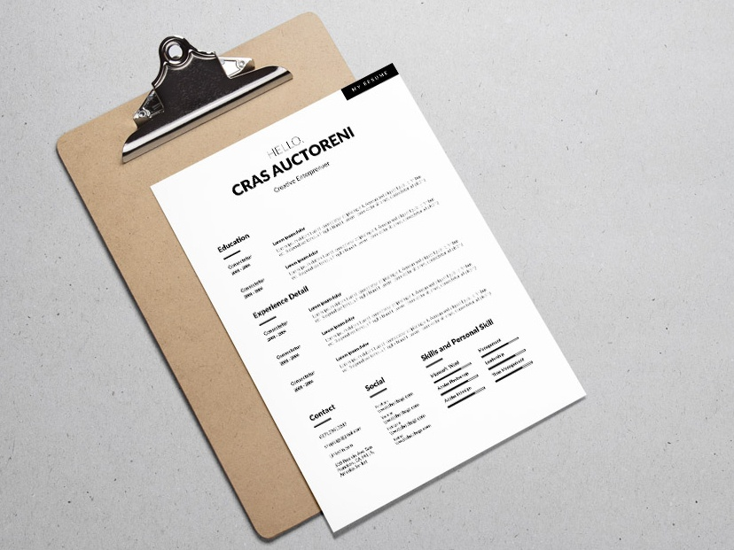 Free Simple Clean CV Template With Cover Letter Page
