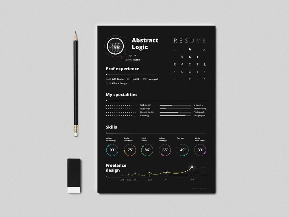Free Dark Infographic Resume Template Design Eps Cv