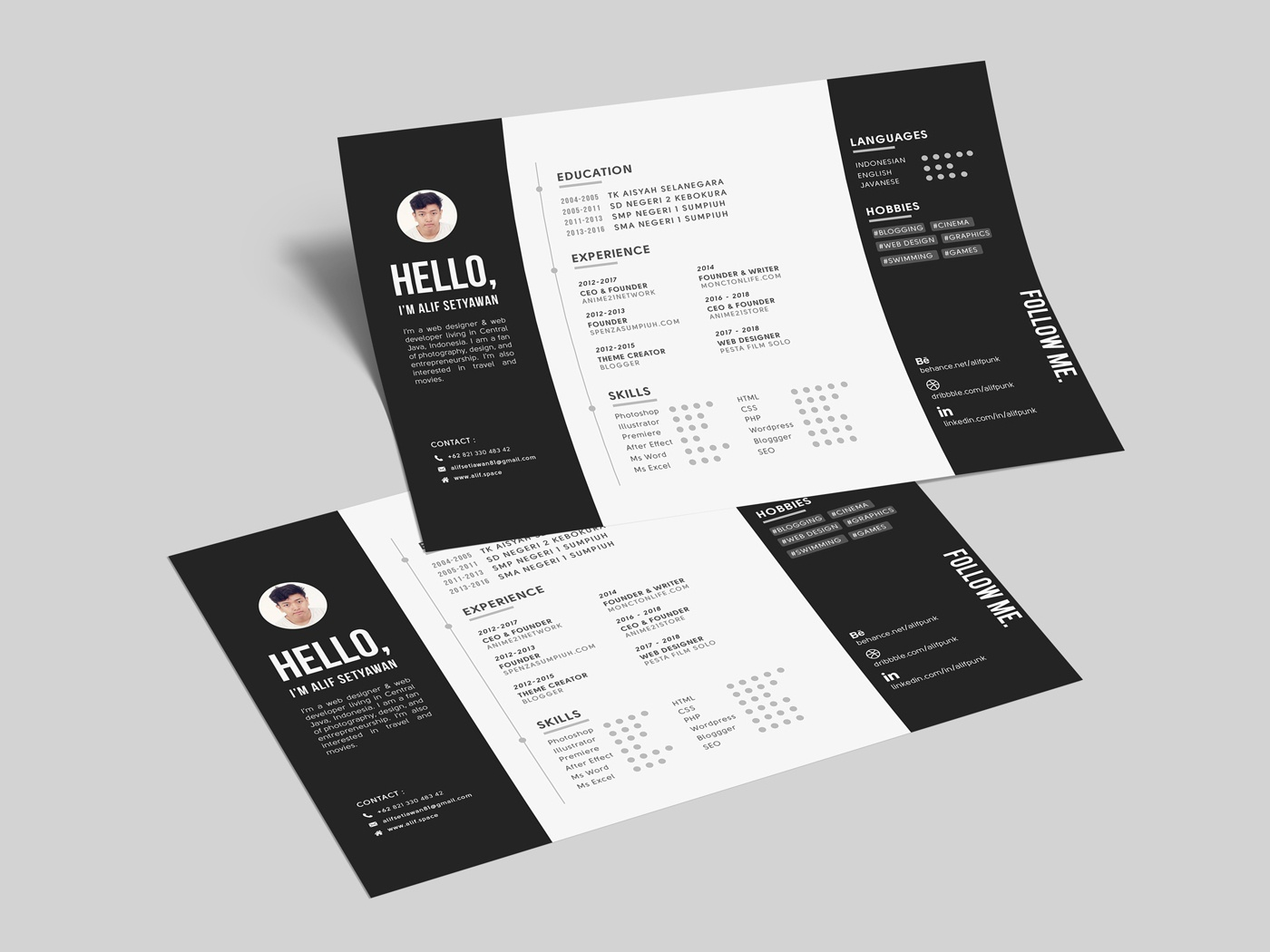 free horizontal resume template by andy williams on dribbble