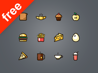 120 Free Line and Fills Food Icons