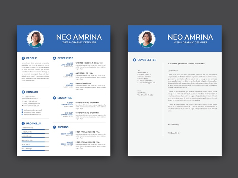 Free PSD Resume Template With Cover Letter By Andy Williams