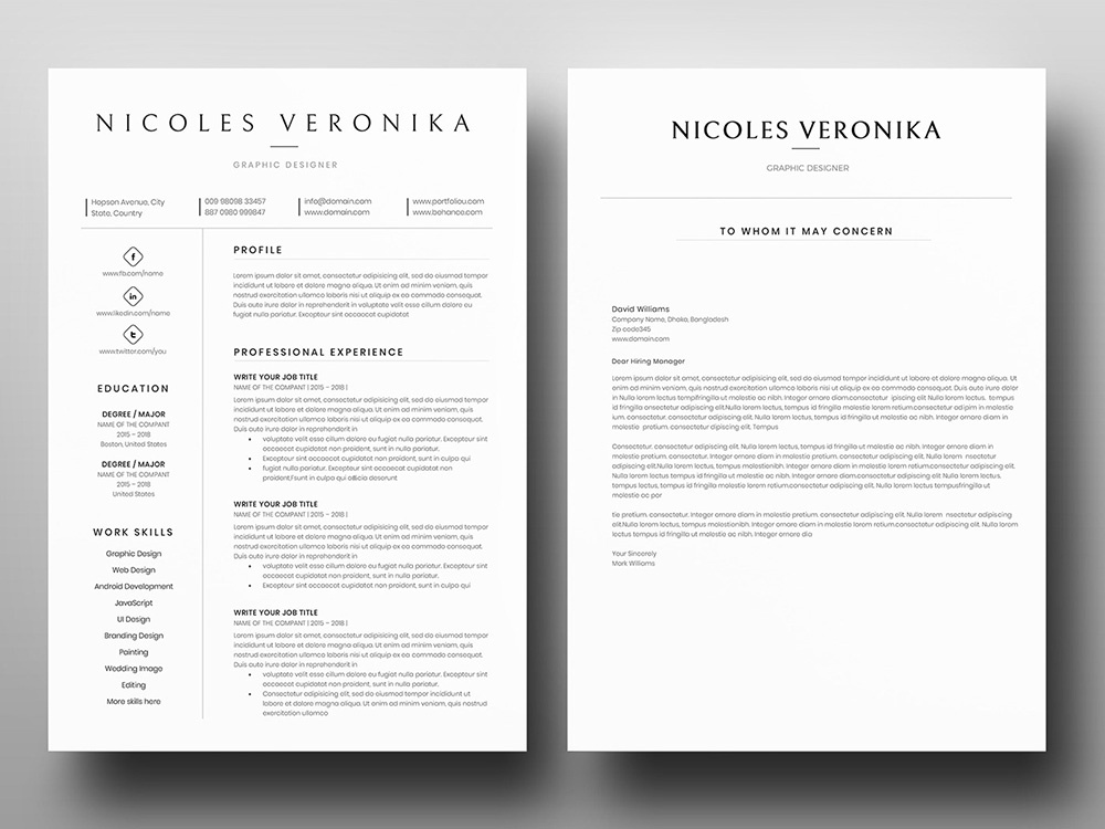 Free One Page Word Resume With Cover Letter By Andy Williams