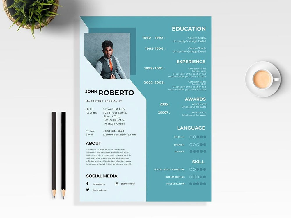 Free Marketing Specialist Cv Template By Andy Williams On Dribbble