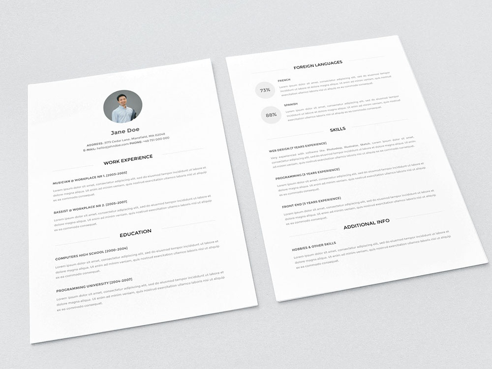 Minimalist Look Resume Template (Freebies) cv psd resume resume template resume design photoshop free resume cv template psd design resume cv free cv template freebie free resume template resume freebies