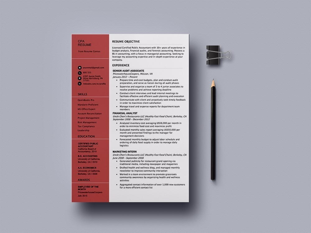 Free Certified Public Accountant Cpa Resume Template By