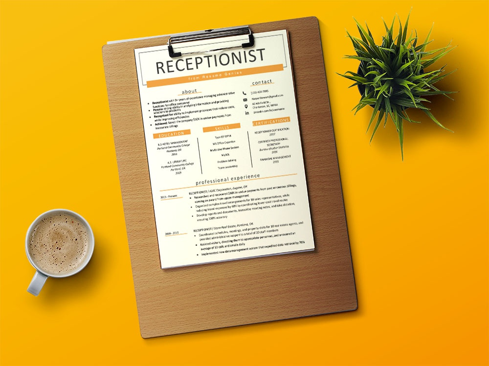 Free Receptionist Resume Template By Andy Williams On Dribbble