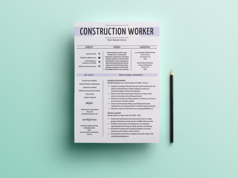 Free Construction Worker Resume Template By Andy Williams On