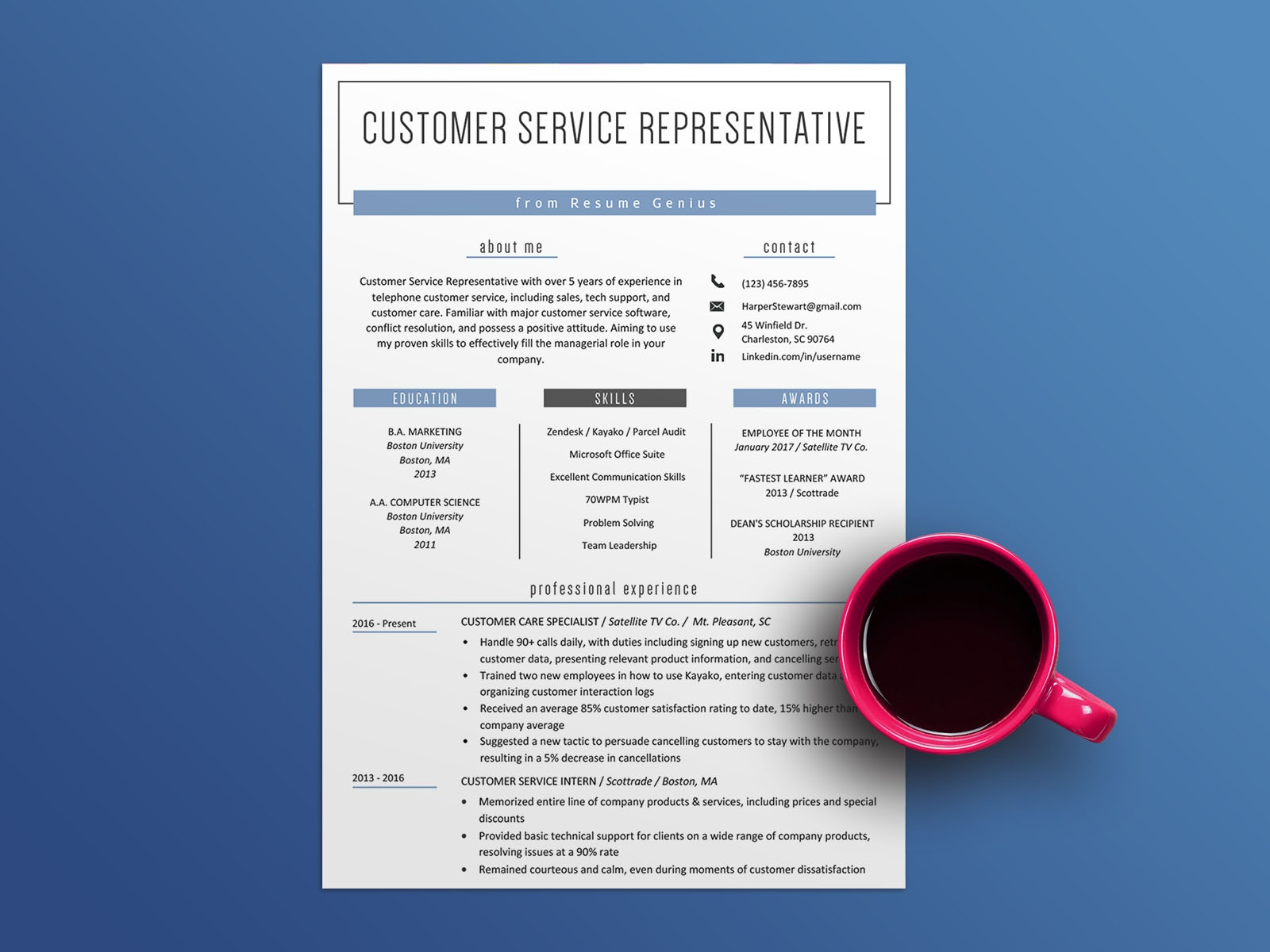 Resume Template Customer Service from static.dribbble.com