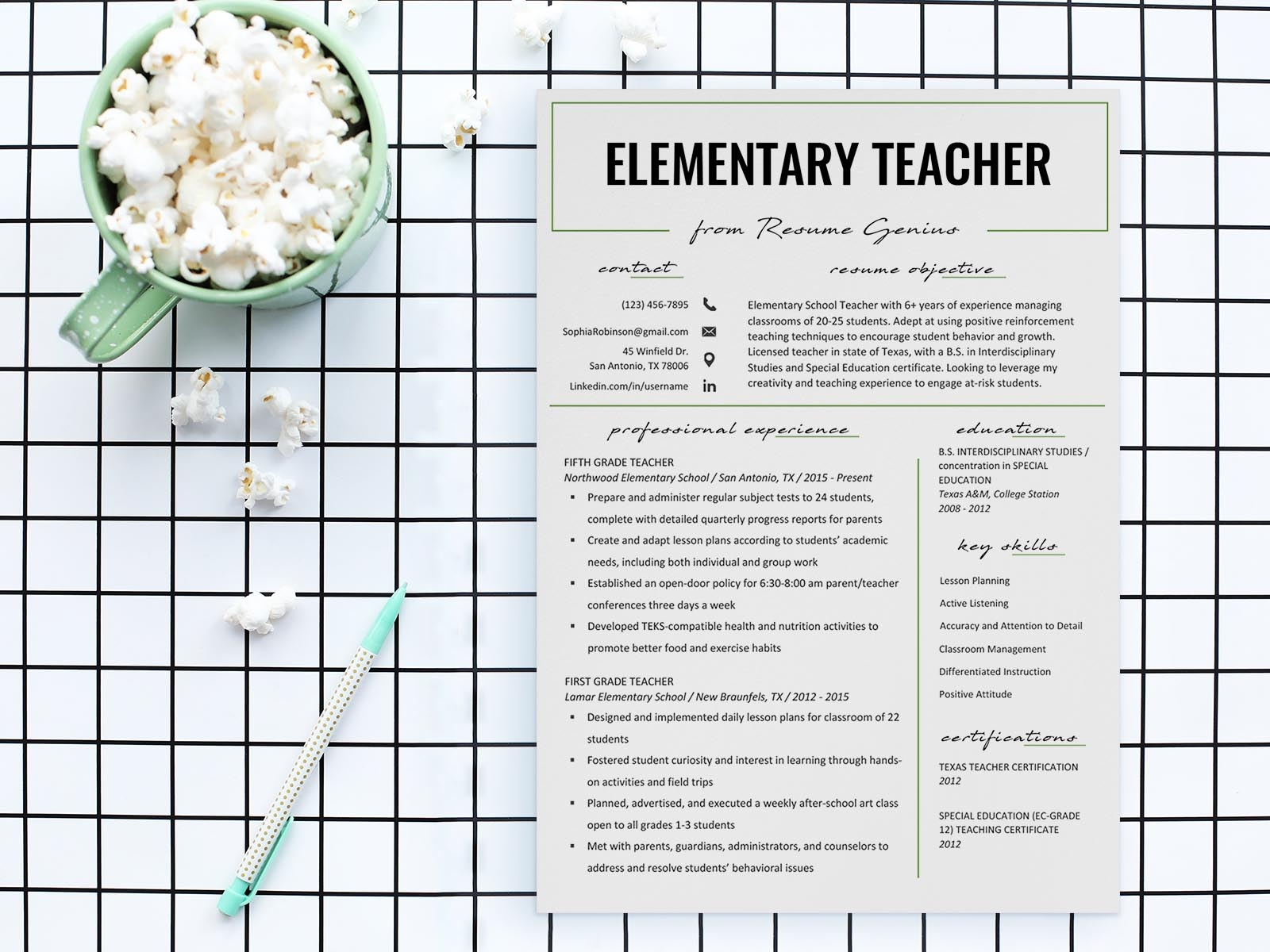 Free Elementary Teacher Resume Template By Andy Williams On Dribbble