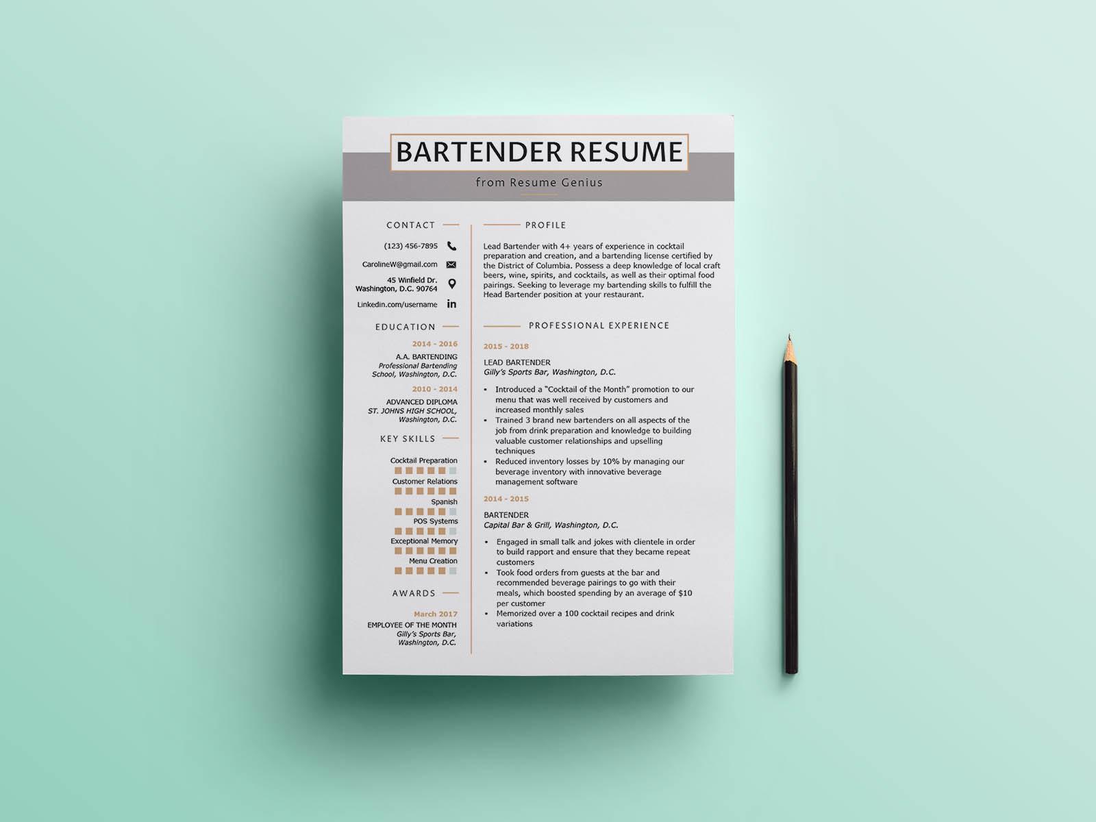 Bartender Resume Template from cdn.dribbble.com