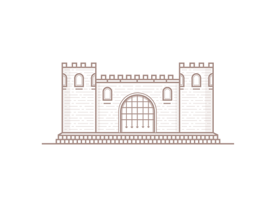 Fortress fortress design towers illustration brick building line flat castle