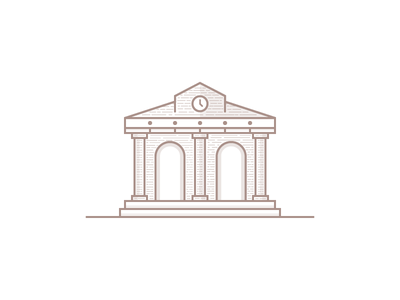 Bank design illustration brick line flat building bank old