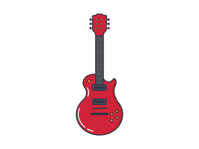 Cherry Les Paul red line flat icon illustration sound music guitar gibson les paul cherry