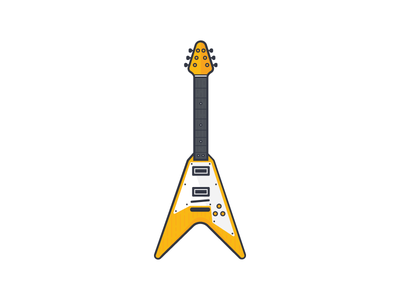 Gibson Flying V electric guitar flying v sound gibson music yellow illustration line icon flat