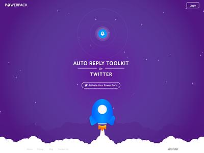 PowerPack purple rocket ux ui flat web landing twitter power pack