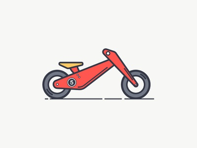 Balance Bike vector outline icon illustration red flat bicycle bike balance