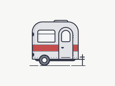 Trailer icon outline red vector illustration flat trailer auto