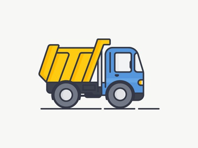 Dump Truck icon machine car construction truck yellow blue outline illustration vector dumptruck