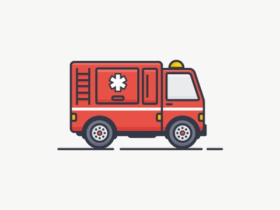 Fire Truck icon illustration car machine vector outline red truck fire firetruck