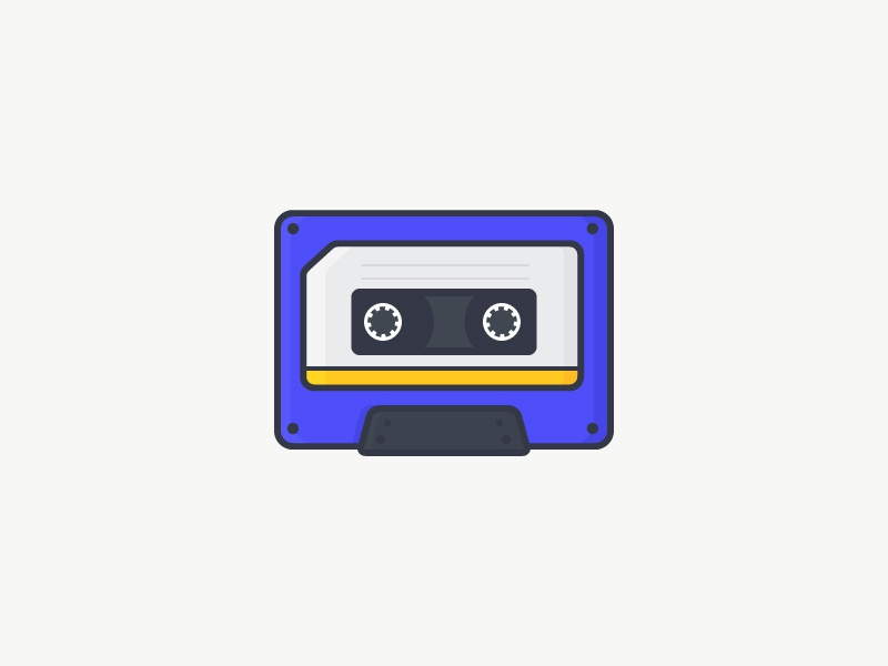Cassette tape icon flat vector yellow outline purple music illustration cassette