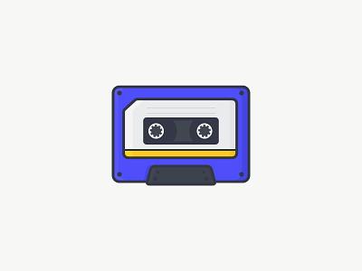 Cassette tape icon flat vector yellow outline purple music illustration cassette