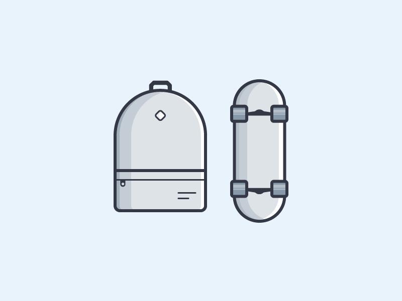 Backpack & Skate outline flat icon vector illustration grey skate backpack bag
