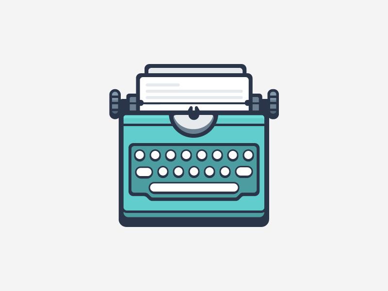 Typewriter teal flat typewriter illustration vector stroke outline icon