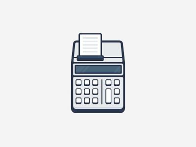 Calculator outline stroke vector illustration icon old school calculator