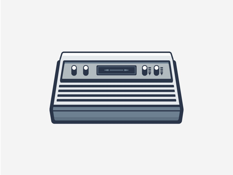 Atari oldies outline vector illustration flat icon game console atari