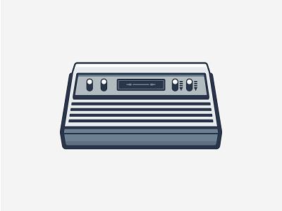 Atari oldies outline vector illustration flat icon game console atari